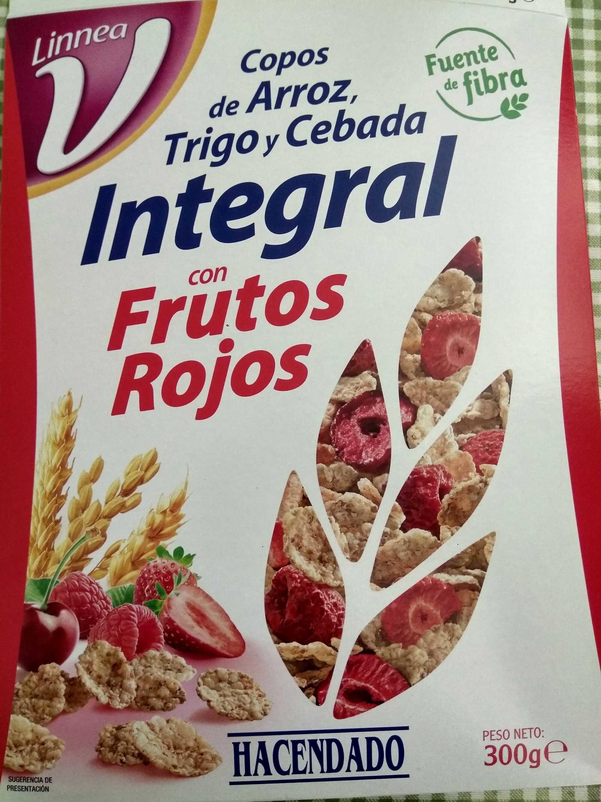 Copos De Arroz Trigo Y Cebada Integral Con Frutos Rojos Hacendado 300 G